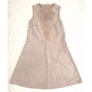 Ayla Faux Suede Crochet Sleeveless Costume Dress